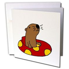 All Smiles Art Sports - Funny Otter is Floating and Tubing in Red and Yellow Inner Tube - 12 Greeting Cards with envelopes (gc_240053_2) #Smiles #Sports #Funny #Otter #Floating #Tubing #Yellow #Inner #Tube #Greeting #Cards #with #envelopes #(gc__)