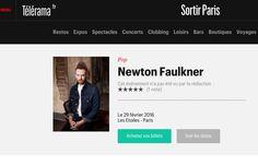 Newton Faulkner dans Telerama.fr (Janv 2016) cliquez sur l'image pour lire