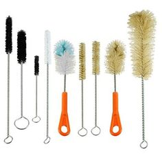 This value pack of bristled bottle and tube brushes supplies you with the finest assortment and flexibility needed to clean the interior and exterior surfaces of various bottles, pipes, tubes, cylinder heads, blocks, bird feeders, canning jars, filter crevices, and so much more. The various sizes of brushes, in addition to the combination of synthetic nylon and natural boar bristles, make this nine-piece set more than equipped to handle all of your essential and creative cleaning needs. The…