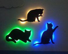 Kit Trio Gatos Silhuetas Luminarias MDF