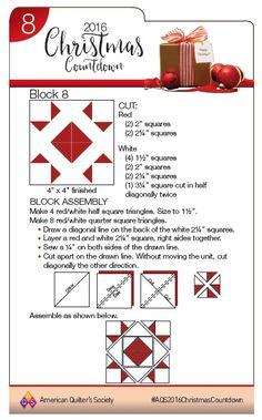 Day 8 for the 2016 Christmas Countdown Christmas Blocks, Christmas Quilt Patterns, Christmas Sewing, Christmas Quilting, Star Quilt Blocks, Quilt Block Patterns, Pattern Blocks, Xmas Countdown, Scandinavian Christmas