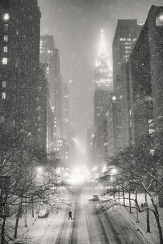 New York City - Snow - Winter Night Overlooking the Chrysler Building