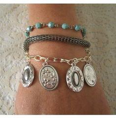 Triple Strand Charm Bracelet, Boho Bohemian Hippie Gypsy Hipster New Age