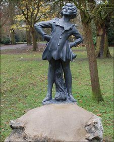 Peter Pan statue in Swindon's Town Gardens, UK. This is an exact replica of the original that was stolen six years earlier.