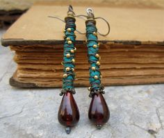 Poetic Licence  dangle earrings primitive tribal by beatnheart