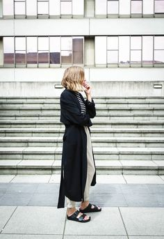 Duster coat, rolled up pants + Birkenstocks seen on #TheFashionMedley      |       Styletorch.com