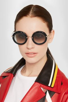 Miu Miu | Round-frame crystal-embellished acetate, suede and gold-tone sunglasses | NET-A-PORTER.COM