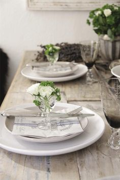 green & white palette, etched glasses, wood tables
