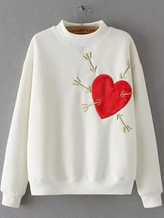 White Stand Collar Heart Arrow Embroidered Sweatshirt 20.26