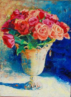 """Roses in Wire Vase - Giclee 12""""x16""""."""