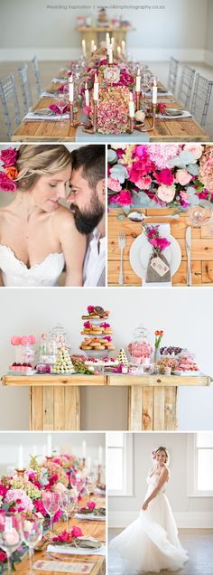 Wedding Inspiration for the bride who isn't afraid of colour. We feature beautiful pinks and corals with duck egg blue and copper for DIY wedding decor. The dessert table is just as gorgeous and features a doughnut cake (yum!). View the full shoot at http://www.nikimphotography.co.za/blog/the-colour-of-love-a-styled-shoot/