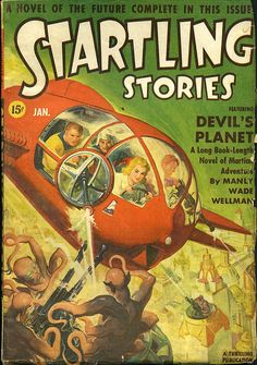 Rudolph Belarski's cover for the January 1942 issue of Starling Stories, ed. Oscar J. Friend
