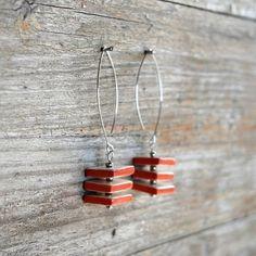 Geometric jewelry  ceramic earrings with cube shape by Brekszer