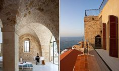 Jaffa apartment. Location: Tel Aviv, Israel. Architect: Pitsou Kedem. This antique structure with walls of sand, clay and stone was always a home, but it was a more primitive style before. The exact age is unknown, but architect Pitsou Kedem says it is hundreds of years old.