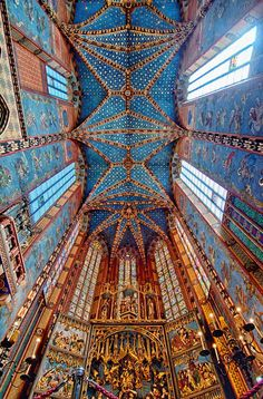 """St Mary's Basilica, Krakow, Poland: """"On every hour, a trumpet signal—called the Hejnał mariacki—is played from the top of the taller of St. Mary's two towers. The plaintive tune breaks off in mid-stream, to commemorate the famous 13th century trumpeter, who was shot in the throat while sounding the alarm before the Mongol attack on the city."""" (Wikipedia)"""