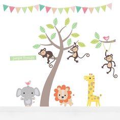 pastel jungle animal wall stickers by parkins interiors | notonthehighstreet.com
