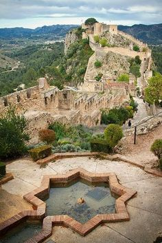 Castle of Xativa, 10th century, Valencia, Spain. Its strategically located on the ancient roadway Via Augusta leading from Rome across the Pyrenees and down the Mediterranean coast to Cartagena and Cádiz.
