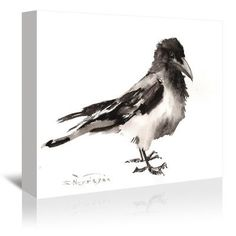 Americanflat Hodded Crow by Suren Nersisyan Painting Print on Gallery Wrapped Canvas Size: