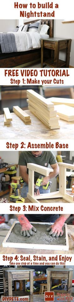 Learn how to build a DIY Nightstand. A complete tutorial, plans, and video are included to help you take action and to build a nightstand set for your bedroom.