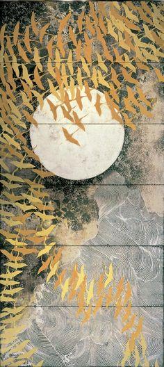 "taishou-kun: ""Kayama Matazo 加山 又造 (1927-2004) A thousand cranes 千羽鶴 - pair of six-fold screens - The National Museum of Modern Art, Tokyo, Japan - 1970 """