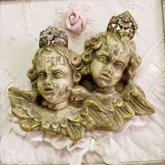 Vintage crowned Cherubs framed embroidery by HelenaAleixoDecor