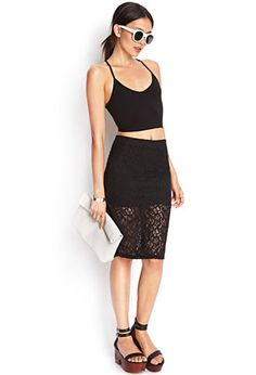 Sheer Lace Pencil Skirt | FOREVER21 - 2000125057