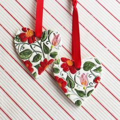 Flower Heart Shaped Christmas Decoration Ceramic Ornaments Handmade by TropicalEarth