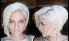 white hair • platinum blonde • asymmetrical bob • girl • hairstyle • new hair color
