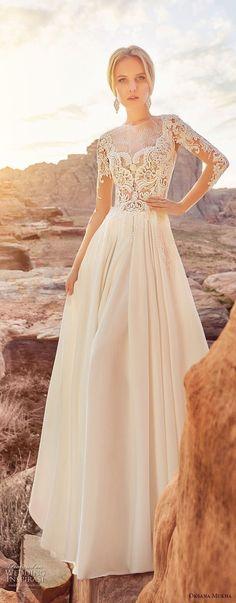 oksana mukha 2018 bridal long sleves jewel neck heavily embellished bodice elegant romantic a line wedding dress covered lace back sweep train (1) mv -- Oksana Mukha 2018 Wedding Dresses