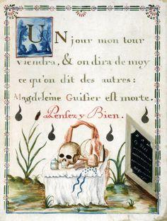 Anonyme Français  18°s. - Memento mori - Magdeleine Guisier - Gouache s. Velin