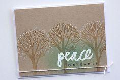 "Peace on Earth Card size: 5 1/2"" x 4 1/4"" stamps: Wet Paint Holiday, O'Tannenbaum ink: True Black, Classic Kraft, Fresh Snow, Aqua Mist, Versamark (Tsukineko) cardstock: kraft, Rustic White other: Rustic Cream button twine, white embossing powder, crystal glitter (Martha Stewart)   Papertrey Ink PTI"
