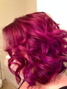Pravana Vivids - pink hair, red hair, purple hilights, long inverted bob, lob hairstyle Hair by The Duchess of Glam