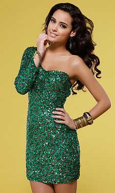 One shoulder dresses have been all the rage on the red carpet. This super sexy short sequin dress by Scala features a single long sleeve design and an asymmetrical sweetheart neckline. Available in Emerald Green, Navy Blue, or Brown and Gold sequins this short formal dress is a glamorous choice for your homecoming or holiday cocktail party.