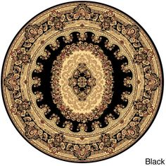Woven Accents Empire 708 Round Rug ($71) ❤ liked on Polyvore featuring home, rugs, black, black rug, plush area rugs, stain resistant area rugs, round woven rug and round area rugs