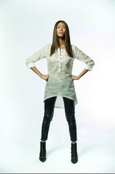 """The Tibo('tee-bo'), slang in Tagalog for """"tomboy"""", is a handmade women's barong Tunic Dress. The barong is commonly known as men's garment in the Philippines Modern Filipiniana Dress, Filipiniana Wedding, Barong Tagalog For Women, Filipino Fashion, Philippines Fashion, Mom Dress, Outfit Combinations, Event Dresses, Modern Outfits"""