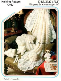 Vintage Babies 4 ply layette shawl helmet by knittingpatterns4you, £2.00