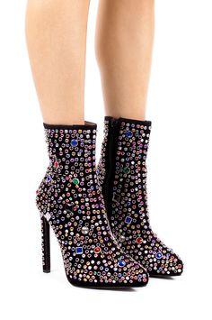 Jeffrey Campbell Shoes VAIN-H-MJL Platforms in Black Suede Multi