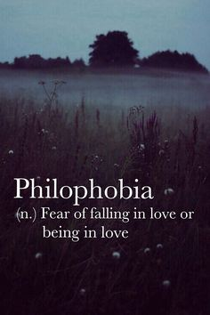 Philophobia (n.): The fear of falling in love or being in love.