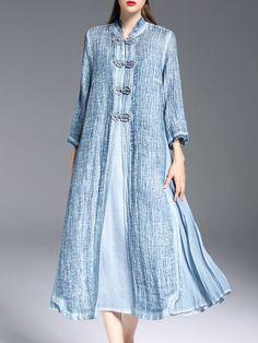 Shop Midi Dresses - Blue Tencel Slit 3/4 Sleeve Midi Dress online. Discover…