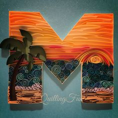 Beach themed quilled Letter M- by QuillingFun #quillingfun #quilling #quilled #quilledm www.etsy.com/shop/QuillingFun