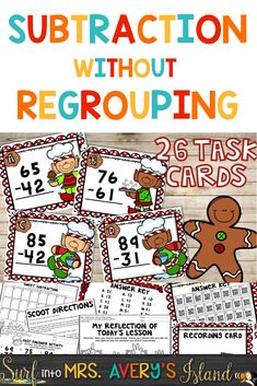 This two digit subtraction without regrouping packet includes everything you need for independent math centers, small group, or whole group lessons.  These math activities are perfect for combining math standards and some Christmas fun all in one she-bang!  #twodigitsubtractionwithoutregrouping #subtraction #mathcenters #subtractiontaskcards #daily3