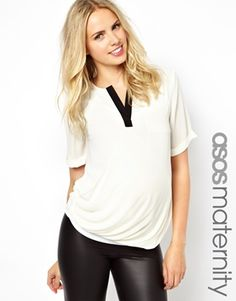 Image 1 of ASOS Maternity Exclusive Blouse With Contrast Detail
