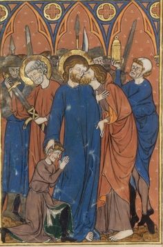 The arrest of Christ, The Picture-Book of Madame Marie (BNF Latin 16251, fol. 33v), c. 1285-1290
