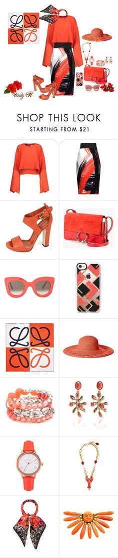 """Red/Orange, Black, White"" by cody-k ❤ liked on Polyvore featuring Solace, Milly, Gucci, Chloé, CÉLINE, Casetify, Loewe, San Diego Hat Co., Ruby Rd. and Oscar de la Renta"