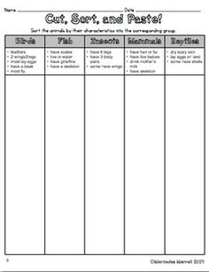 CUT, SORT, PASTE, & GRAPH! ANIMAL CLASSIFICATION FREE ACTIVITIES TO GO WITH... - TeachersPayTeachers.com