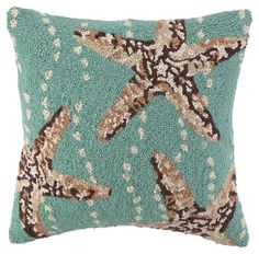 One Kings Lane - Dreaming of the Sea - Starfish 18x18 Wool Pillow, Multi