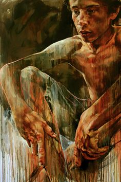 Grace Kotze {contemporary figurative art male child keeling shirtless boy #expressionist texture grunge painting #noveltechnique drips} <3 Short Rest!!
