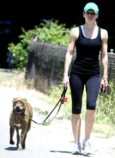 Jessica Biel with her pit pup.