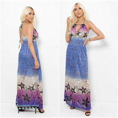 Boho Womens Blue Holiday Halter Neck Patterned Maxi Dress Sundress UK 8 10 12 14 #Unbranded #MaxiDress #AnyOccasion Neck Pattern, Halter Neck, Summer Dresses, Formal Dresses, Boho, Holiday, Fashion, Dresses For Formal, Moda