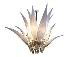 Murano Glass & Brass Italian Leaf Chandelier on DECASO.com